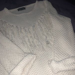 Never worn white Mustard Seed Sweater with tassels